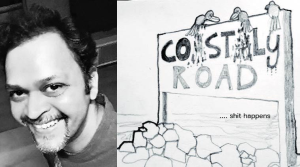 Abhijit Ekbote will submit his sketches (right) to the BMC to object to the project to connect South Mumbai to Kandivali via a high-speed coastal road. -