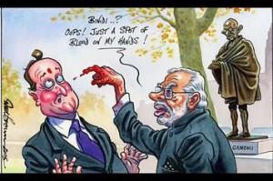 Independent Cartoon- modi UK VISIT