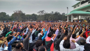 (over 3000 HMSI workers along with workers from hundreds of other factories in solidarity gather in Gurgaon on 19th February to march to the Honda HQ)