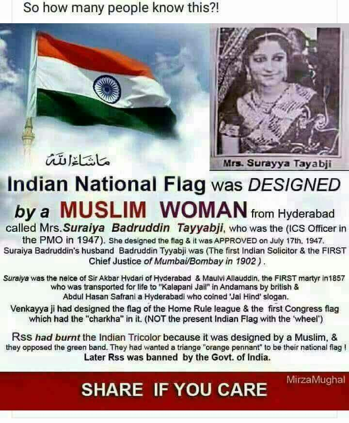How many know that a Muslim woman designed the Indian