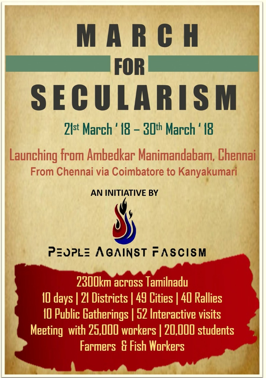 India - 'March for Secularism' from Chennai to Kanayakumari 21st to